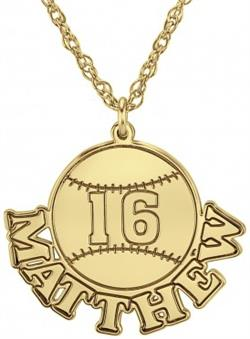 Alison & Ivy - Baseball Necklace w/Name & Number - Customizable Jewelry Collection