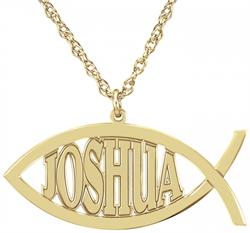 Alison & Ivy - Christian Fish Name Necklace 14x32mm - Customizable Jewelry Collection
