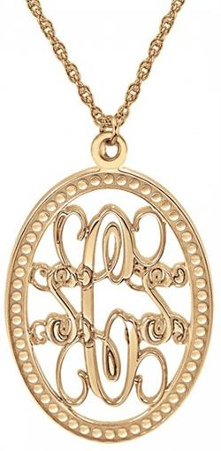 Alison & Ivy - Traditional Monogram Oval Necklace (24x17mm) - Customizable Jewelry Collection
