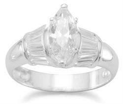Marquise Cut CZ with Baguette Side Ring 925 Sterling Silver