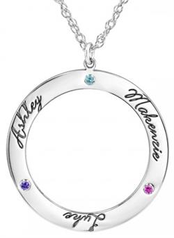 Alison & Ivy - Round Cutout Family Names & Birthstones Necklace - Customizable Jewelry Collection