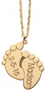 Alison & Ivy - Baby Feet Name & Date Necklace Small 12x10mm - Customizable Jewelry Collection