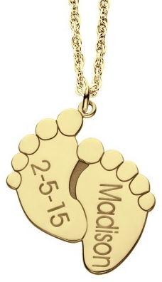 Alison & Ivy - Baby Feet Name & Date Necklace Large 17x20mm - Customizable Jewelry Collection