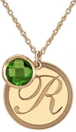 Alison & Ivy - Round Initial Checkered Disc w/ Birthstone Dangle Necklace 22mm - Customizable Jewelry Collection