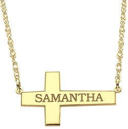 Alison & Ivy - Sideways Cross Name Necklace 16x28mm - Customizable Jewelry Collection