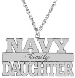 Alison & Ivy - Navy Personalized Pendant Necklace 14x24mm - Customizable Jewelry Collection