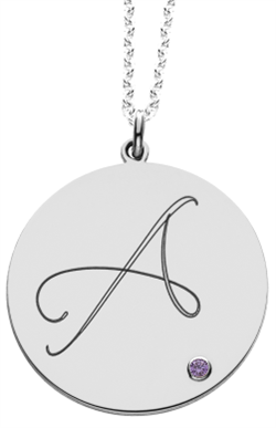 Alison & Ivy - Round Script Initial Disc w/ Birthstone Accent Necklace - Customizable Jewelry Collection