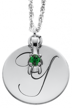 Alison & Ivy - Round Initial Medallion w/ Birthstone Dangle Necklace 17mm - Customizable Jewelry Collection