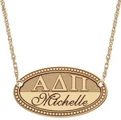 Alison & Ivy - Oval Greek Letters Name Plate Necklace - Customizable Jewelry Collection