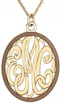 Alison & Ivy - Classic Oval Monogram Pendant Necklace 28x24mm - Customizable Jewelry Collection