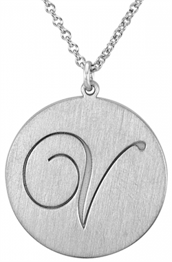 Alison & Ivy - Brushed Cursive Initial Necklace 20mm - Customizable Jewelry Collection