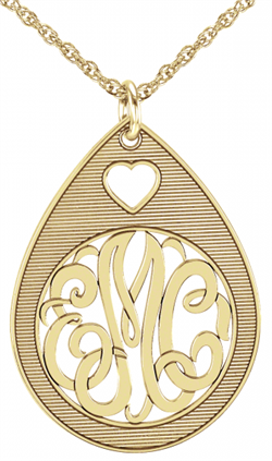 Alison & Ivy - Teardrop Monogram Necklace 30mm - Customizable Jewelry Collection