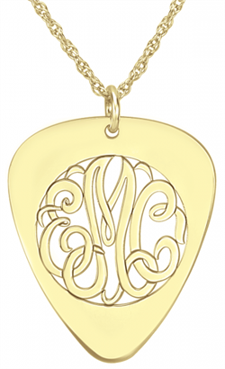 Alison & Ivy - Guitar Pick Monogram Necklace 30x25mm - Customizable Jewelry Collection
