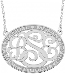 Alison & Ivy - Classic Bordered Oval Monogram Necklace w/Names 25x32mm - Customizable Jewelry Collection