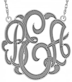 Alison & Ivy - Classic Scripted Monogram w/Diagonal Detail Necklace 30mm - Customizable Jewelry Collection