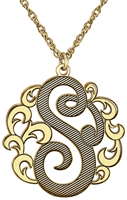 Alison & Ivy - Cutout Single Initial Decorative Necklace 25mm - Customizable Jewelry Collection