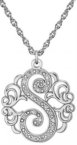 Alison & Ivy - Single Initial Multi-Diamond Swirl Necklace 20mm - Customizable Jewelry Collection