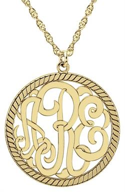 Alison & Ivy - Circular Rope Monogram Necklace 25mm - Customizable Jewelry Collection