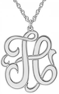 Alison & Ivy - Cutout Script Initial Necklace 25x22mm - Customizable Jewelry Collection