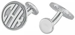 Alison & Ivy - Round Block Rope Monogram Cufflinks 18mm - Customizable Jewelry Collection