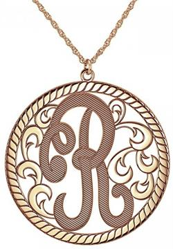 Alison & Ivy - Cutout Single Initial Textured Necklace w/Rope Border 15mm - Customizable Jewelry Collection