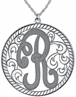 Alison & Ivy - Single Initial Cutout Textured w/Rope Necklace 40mm - Customizable Jewelry Collection