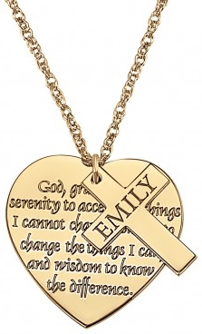 Alison & Ivy - Heart w/Personalized Cross Charm Necklace 22mm - Customizable Jewelry Collection