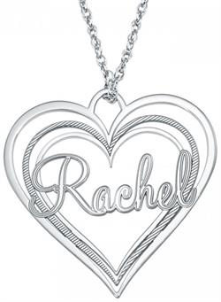 Alison & Ivy - Triple Heart Name Necklace 30x32mm - Customizable Jewelry Collection