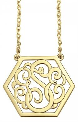 Alison & Ivy - 3 Initial Hexagon Monogram Necklace 25mm - Customizable Jewelry Collection