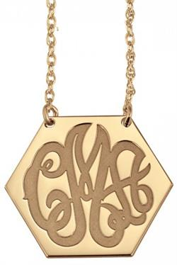 Alison & Ivy - Solid Hexagon Monogram Necklace Large 20x25mm - Customizable Jewelry Collection