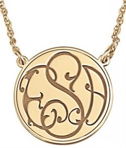 Alison & Ivy - Ivy Classic Recessed Monogram Necklace 20mm - Customizable Jewelry Collection