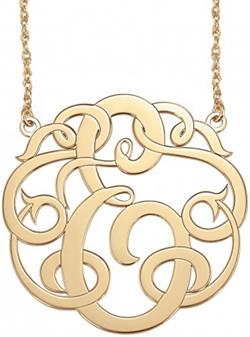 Alison & Ivy - Single Initial Monogram Necklace Classic Large 40mm - Customizable Jewelry Collection