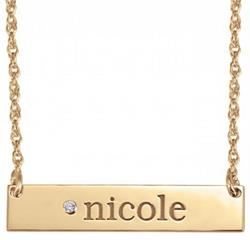 Alison & Ivy - Diamond Accent Bar Name Necklace 6x32mm - Customizable Jewelry Collection