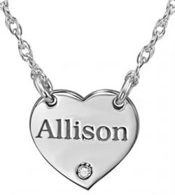 Alison & Ivy - Mini Heart w/ Name & Diamond Accent Necklace - Customizable Jewelry Collection