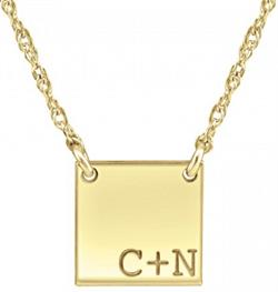 Alison & Ivy - Couples Initial Square Necklace 12mm - Customizable Jewelry Collection