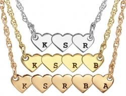 Alison & Ivy - Plethora of Hearts Initials Necklace - Customizable Jewelry Collection