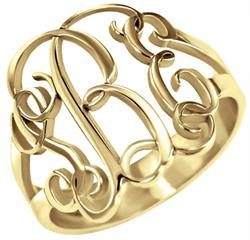 Alison & Ivy - Traditional Monogram Ring 18mm - Customizable Jewelry Collection
