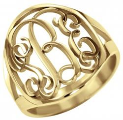 Alison & Ivy - Traditional Halo Monogram Ring 18mm - Customizable Jewelry Collection