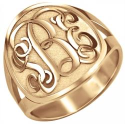 Alison & Ivy - Traditional Recessed Monogram Ring 18mm - Customizable Jewelry Collection