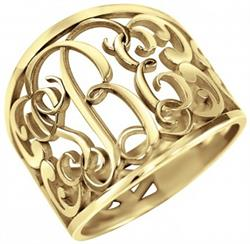 Alison & Ivy - Traditional Decorated Monogram Ring 18mm - Customizable Jewelry Collection