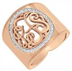 Alison & Ivy - Cigar Band Cut Out Multi-Diamond Monogram Ring 18mm - Customizable Jewelry Collection