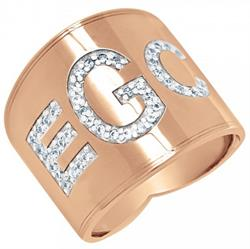 Alison & Ivy - Cigar Band Block Font Multi-Diamond Monogram Ring 18mm - Customizable Jewelry Collection