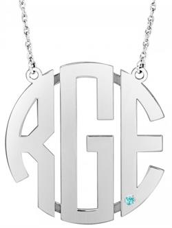 Alison & Ivy - Birthstone Bezel Accent Block Monogram Necklace - Customizable Jewelry Collection