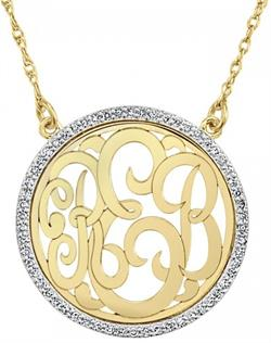 Alison & Ivy - Multi-Diamond Halo Classic Monogram Necklace Small (23mm) - Customizable Jewelry Collection