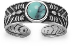 Oxidized Toe Ring with Simulated Turquoise 925 Sterling Silver