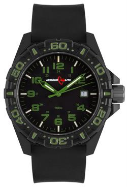 ArmourLite Tritium Watch - Operator Series AL1503 Green Numbers Silicone Band Watch