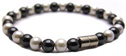 Hematite w- Simulated Pearl Coating and Magnetic Clasp - Magnetic Therapy Bracelet - DISCONTINUED