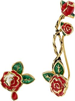 Disney Gold-Plated Brass Alice In Wonderland Painting the Roses Ear Climber & Stud - DISCONTINUED