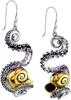 Disney Two-Tone Sterling Silver The Little Mermaid Tentacle French Hooks Earrings