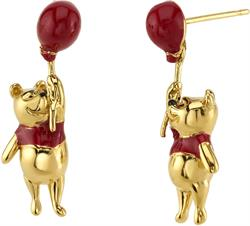 Disney Gold-Plated Sterling Silver Christopher Robin Winnie the Pooh Swinging Red Enamel Earrings - DISCONTINUED